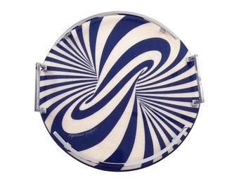 """Inlaid wood round serving tray """"Vortex Design"""""""