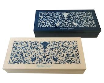 "Inlaid wood jewelry box 23x10 cm ""Blue & White Ornate Design"""