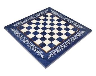 "Inlaid Wood Chessboard ""Blue/White Ornate Design"""