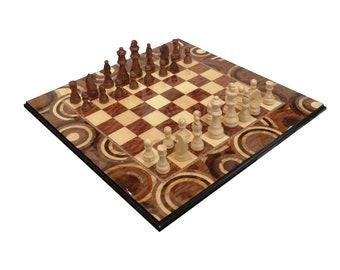 "Inlaid wood Chess set  ""Natural Circle"" Design"