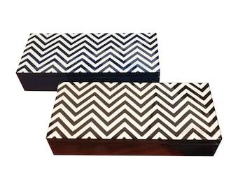 """Inlaid wood jewelry box 23x10 cm """"ZigZag Design"""""""
