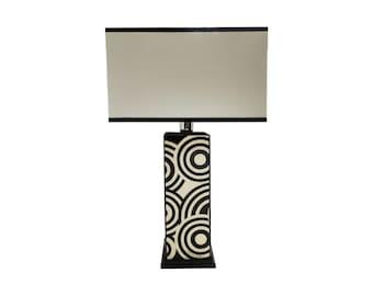 "Inlaid wood table lamp ""Black & White Circle Design"""