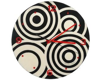 "Inlaid Wood Wall Clock ""Black /White Circle""Design"