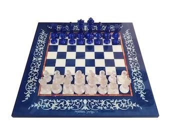 "Inlaid wood Chess set  ""Blue Ornato"" Design"