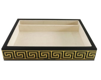 "Inlaid wood catchall desktop organizer ""Design Greek Yellow & Black"""