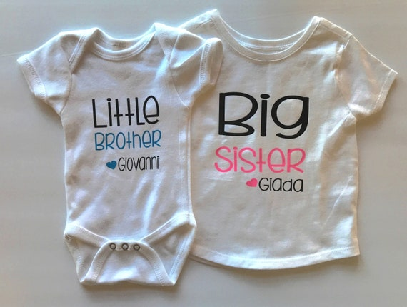 Personalised Sister And Brother T Shirt Set