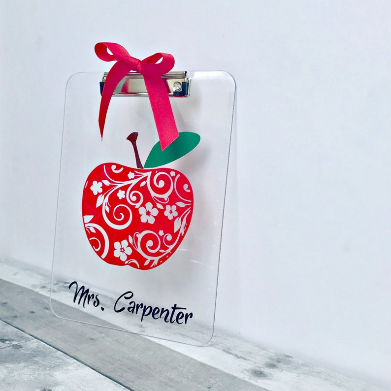 Personalized Apple Clipboard for Teacher School Supplies End image 0