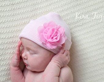 Girl hospital hat, hospital hat with flower, baby girl hat, newborn hospital hat, flower hospital hat, hospital hat,  newborn hospital cap