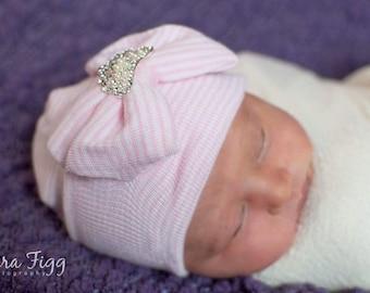 Baby girl hospital hat, newborn girl hospital hat, infant hospital hat, baby tiara, hospital hat, hospital beanie, newborn beanie