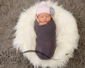 Newborn baby hat, pink and grey hat, baby girl hat, newborn hospital hat, newborn flower hat, hospital hat, newborn hospital cap, pink gray