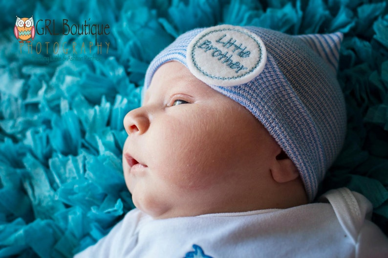 7ada10878 Newborn boy hospital hat little brother hat boy coming home