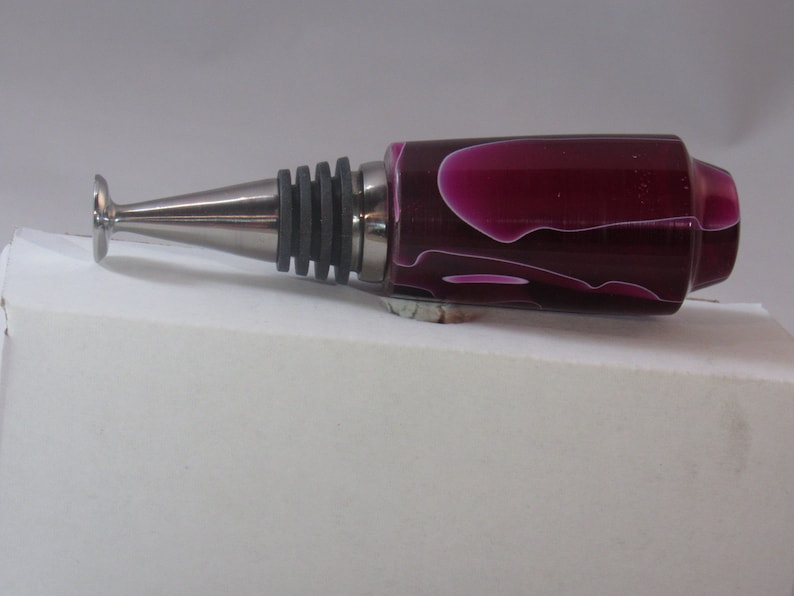 Purple Ribboned Resin Bottle Stopper with Standing Stopper