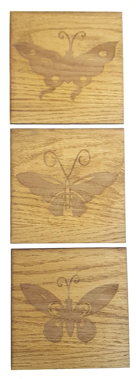 Set of 3 Engraved Wooden Butterfly Plaques - Wall Decor from ...