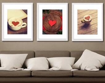 Love Print Set, Coffee Photography, Kitchen Art, Set of 3 Prints, Kitchen Photography, Cafe Decor, Restaurant, Coffee Shop Art, Gift Ideas