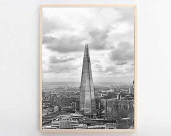 The Shard, London Photography, London Skyline, Architecture Print, Black And White, London Print, London Fine Art Photography, Large Art