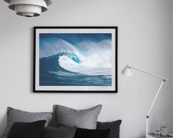 Wave Print, Wave Photography, Surf Art, Ocean Large Art, Blue Wall Art, Beach Decor, Surf Decor, Waves Wall Art, Beach Backdrop, Coastal Art