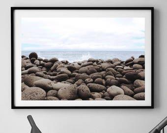 Stone Beach Print, Coastal Decor,  Pebbles Beach, Pebbles Print, Rocky Beach, Beach Decor, Rustic Decor, Beach Art, Grey, Cloudy, Dramatic