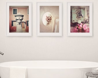 Bathroom Decor Set of 3 Photographs, Bathroom Art Set, Wall Art, Faucet, Rustic Bathroom Decor, Vintage Shabby Chic Bathroom Art, Bath Decor