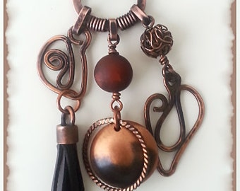 Copper charm necklace.Handmade.