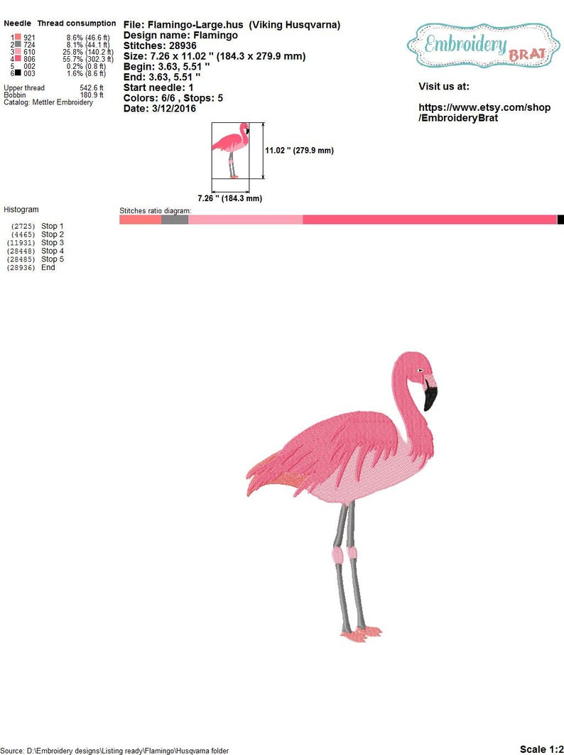 Embroidery Design in 3 Sizes Flamingo Embroidery Pattern EMBROIDERY PINK FLAMINGO design Machine Embroidery Design Instant Download