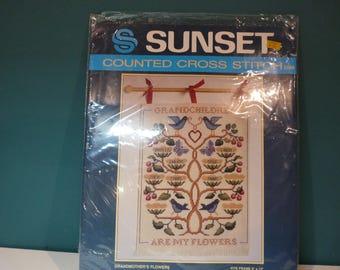 Grandma's Flowers --Sunset Counted Cross Stitch