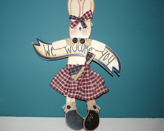 Hanging Welcome Bunny Sign