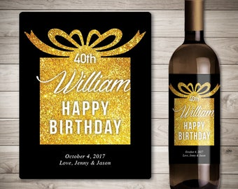 Birthday Wine Label - Birthday Gift Wine Label - Custom Wine Label - Personalized Wine Label - Birthday Party Wine Bottle Label