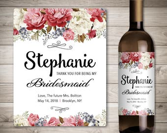 Custom 'Will You Be My Bridesmaid' Wine Bottle Label, Thank You For Being My Bridesmaid Gift, Personalized Wedding