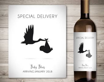 Custom Wine Label - Pregnancy Announcement Ideas - Baby Announcement Wine Bottle Label - Special Delivery - Stork Carrying a Baby