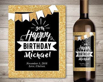 Birthday Wine Label - Birthday Gift Wine Label - Custom Wine Label - Personalized Wine Label - Gold Birthday Party Wine Bottle Label