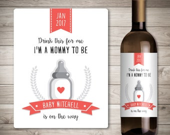 Custom Wine Label - Pregnancy Announcement - Baby Announcement Wine Bottle Label - Shower Favor - Pregnancy Reveal