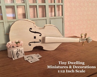 Miniature Wooden Cello, Dollhouse Musical Instruments, Miniature Cello, Dollhouse Cello, Miniature Music Room