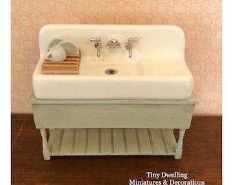 Miniature Sink, Dish Sink, Dollhouse Kitchen Sink, Dollhouse Sink Table, Tiny Dwelling