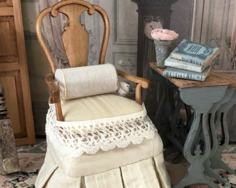 Miniature French Country Chair Set,  Miniature Chairs, Dollhouse Furniture, French Provencal Arm Chairs, Gustavian Miniature Chairs