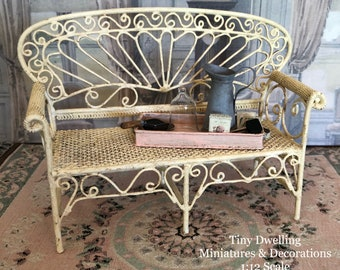 Miniature Bench, Double Bench, Dollhouse Furniture, Miniature Furniture, Garden Bench