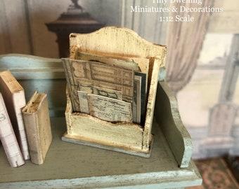 Miniature Letter Holder, Dollhouse Letter Holder, Dollhouse Book Holder, Dollhouse Storage