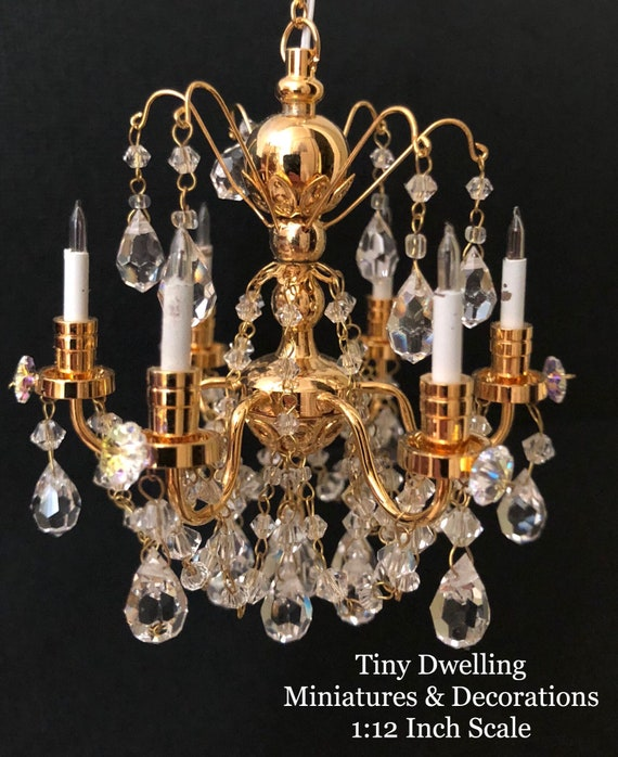 Dollhouse Miniature Silver Brass /& Plastic Chandelier 1:12 non-electric