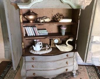 Miniature Cabinet, Dollhouse Furniture, Dollhouse, Miniature Furniture