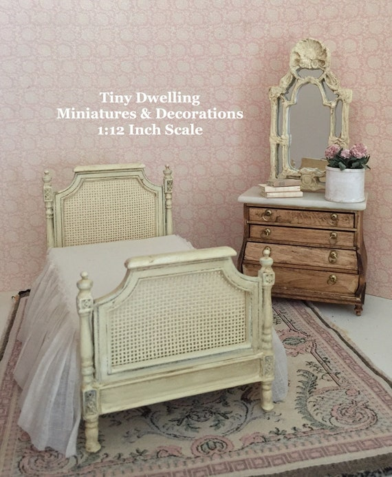 French Inspired Miniature Bed, French Dollhouse Bed, French Country  Miniatures, Miniature Bedroom, Miniature French Provencal Bed