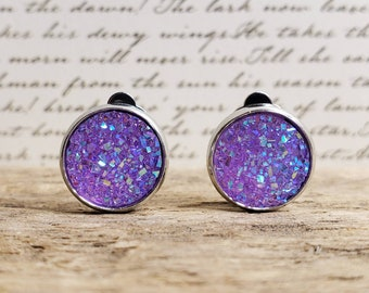 Handmade in the USA Sparking Gemstone Earrings on Nickle-Free Gold Plated Ear Wires Gifts for Her Lilac Druzy Dangle Earrings