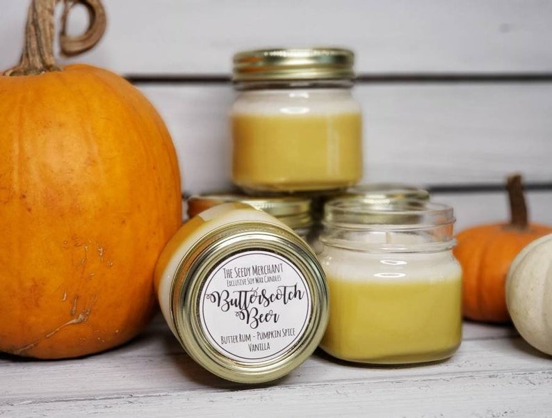 Butter Scotch Beer and Vanilla Scent Soy Wax Nerdy Book Lover Candle Spring Summer Birthday Graduation Gift Pumpkin Spice Butterscotch