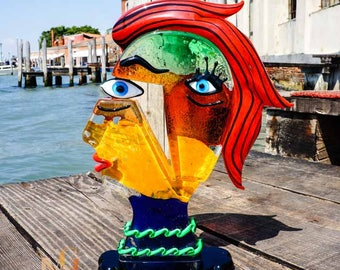 Glass Sculpture – Murano Glass Figure – Homage to Picasso - Venetian Art Glass Head Made in Italy - 28cm - Made to Order by Mario Badioli