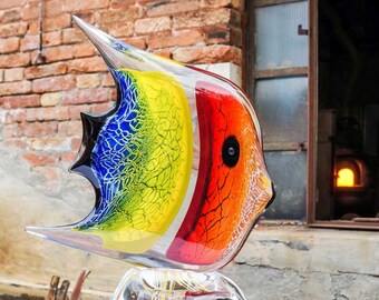 Colorful Glass Fish - Italian Hand Blown Gift - Original Murano Glass Sculpture - Glass Animal Fish Sculpture - Handmade in Murano, Italy