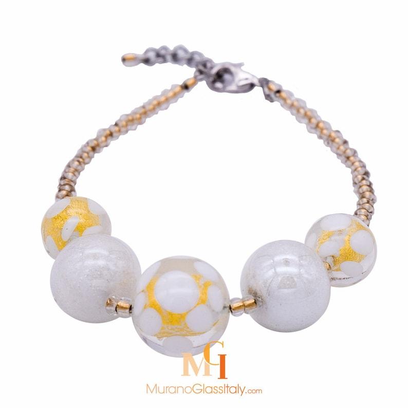 Venetian Glass Bracelet with 24 Karat Gold Handmade in Italy Italian Designer Bracelet Crystal Glass Jewelry Murano Glass Jewelry