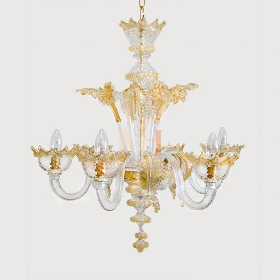 Details about Murano Hand blown venetian italian chandelier replacement glass leaf flower