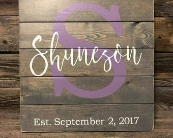 Wedding Sign, Anniversary Sign, Wedding gift, Monogrammed Wood Sign,  Family Name, Family Sign, Customize, Established, Handmade, Custom