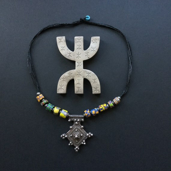 Touareg Berber Silver Southern Cross necklace 1970/'s with its 925 mesh chain