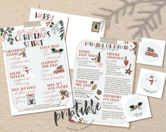 Christmas Diffuser Blends Recipe Card, Holiday Essential Oil Diffuser Blend Recipes, Christmas Room Spray Labels, Postcard Printable