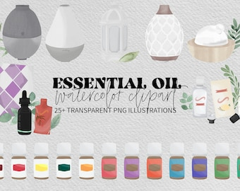 Essential Oil Watercolor Clipart, Essential Clipart Illustrations for Instagram and Social Media, Blog Brand