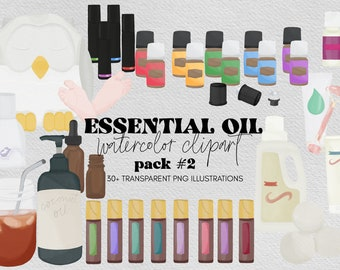 Essential Oil Watercolor Clipart, Essential Oil Illustrations for Instagram and Social Media